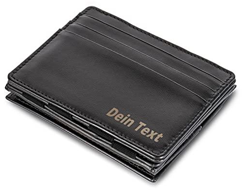 Jaimie Jacobs  Portafoglio Magico con Incisione, Magic Wallet Flap Boy - l'Originale - Protezione RFID, Portafoglio Uomo con scompartimento per monete, Porta Carte di Credito Slim (Nero)