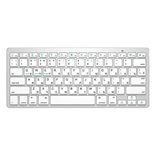 YDL Bluetooth Keyboard Wireless Keyboard Ultra Slim Mute para Mac iPad iPhone iOS Android Windows Smart TV (Color : Silver)