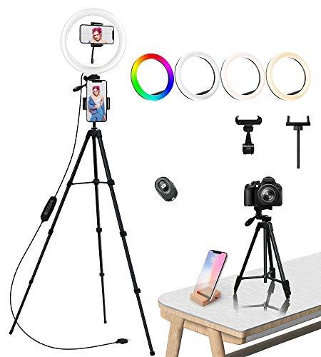 Anillo de luz con Tripode, COOLHOOD 18 RGB y 3 Colores Normales Aro de luz Ajustable por LED, Soporte para Trípode Portátil para Maquillaje Multiplataforma Youtube TikTok Live Streaming