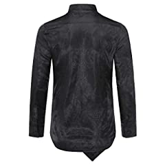 Sliktaa Mens Casual Shirts Fancy Dress Long Sleeve Slim Fit Floral Button Down Wing Collar Steampunk Shirts, M, Black #2