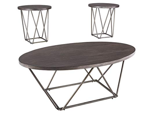Signature Design by Ashley Neimhurst Modern 3-Piece Table Set, Includes Coffee Table and End Tables, Dark Brown