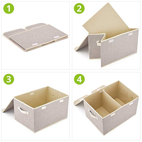 Geyecete Large Storage Boxes - Large Linen Fabric Foldable Storage Cubes Bin Box Containers with Lid and Handles for Dog Apparel