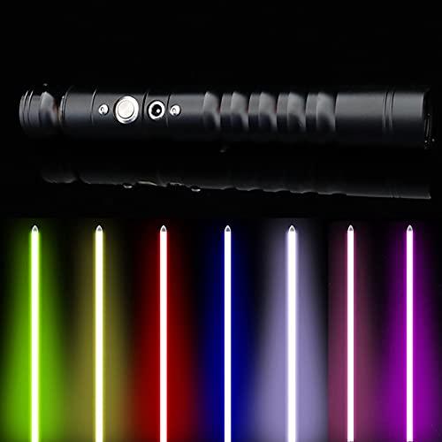 FX Sable De Luz Duelo Con metal empuñadura, 7 Colores RGB Recargable Cosplay Luz Sabres, Desprendible De La Lámina Actualizados 8 Modos De Sonido, Regalo Para Los Adultos Adolescentes,Negro,Single