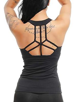 SEASUM Women Sexy Open Back Yoga Shirt Sport Workout Gym Racerback Tank Tops Active Sleeveless Camisole L