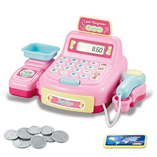 BAQSOO Set di Giocattoli per Supermercato con Registratore di Cassa, Calcolatrice per Registratore di Cassa per Bambini di Simulazione, Registratore di Cassa Giocattolo con Scanner, Denaro