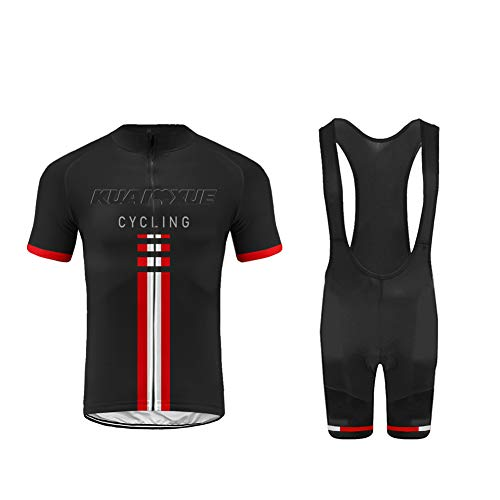 Uglyfrog Maillot de Cyclisme Manches Courtes + Cuissard VTT A Bretelles Respirant pour Homme