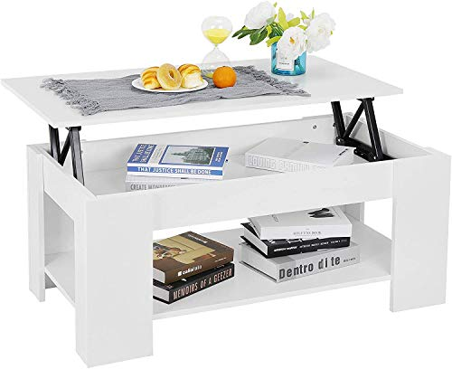 Zoyo White Coffee Table Lift Up Top with Storage and Shelf for Living Room Wooden (White)