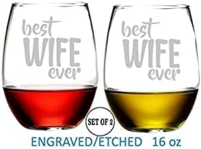 Best Wife Ever Stemless Wine Glasses Etched Engraved Perfect Handmade Gifts for Everyone Set of 2