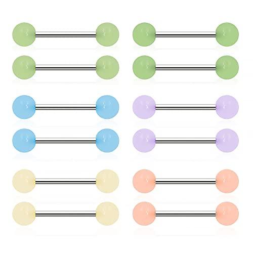 12 piercings de acrílico flexible para lengua, 14 g, brillantes en la oscuridad, para pezón, joyería