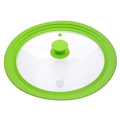 GRÄWE Universal-Glasdeckel Grün 28-32 cm, für Kochtöpfe und Pfannen, gehärtetes Glas, Silikongriff, mit Dampfaustritt