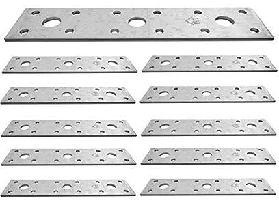 Placa de unión plana galvanizada de acero resistente, chapa de acero de 5.91 x 1.38 x 0.1 pulgadas (150 x 35 x 2.5 mm) paquete de 10 piezas