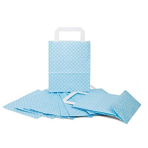 10 kleine hellblau weiß blau gepunktete Papiertaschen Geschenktaschen mit Henkel 18 x 8 x 22 cm Tüten give-away Mitgebsel Geschenk-Verpackung Geschenktüten Ostertüten