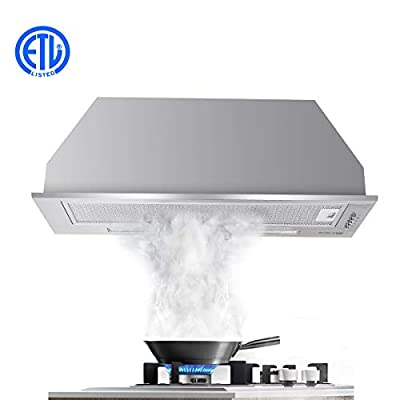 "30"" Range Hood, GASLAND Chef BI30SP 30 Inch Built-in Range Hood, 3 Speed 450 CFM Stainless Steel Ducted Exhaust Kitchen Hood Fan, Push Button Control, LED Lights, Aluminum Mesh Filters"