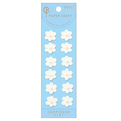 ミドリ PC シール<S>3121 白い花柄 83121006