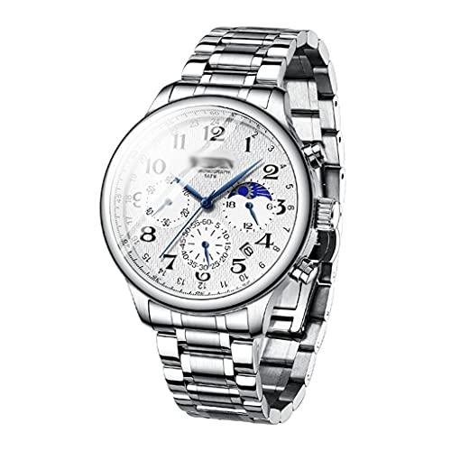 DSJMUY Relojes para Hombre Moda Acero Inoxidable Deportivo Analógico Reloj Cronógrafo Impermeable Negocios Reloj De Pulsera