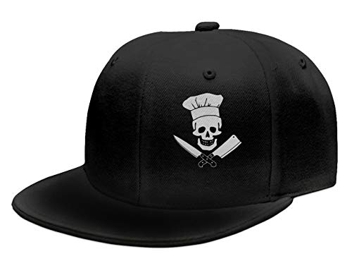 OASCUVER Skull-Chef Cooking Skull Hat Grill Master Unisex Fashion Snapback Hats (Black 1, One Size)