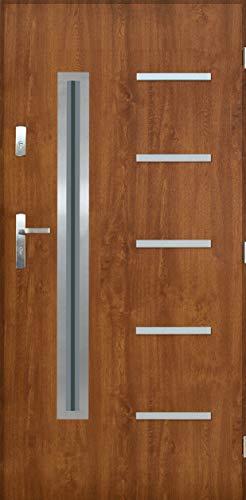 Tür Warme 1,3 KanKan 01 mit Glas Nano Advance Haustür Stahltür Eingangstür Goldene Eiche (Goldene Eiche, [90] 990 x 2065 mit einem Türrahmen Links)