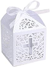 KAZIPA 50PCS Baptism Favor Boxes, 2.2''x2.2''x2.2''Laser Cut Favor Boxes with 50 Ribbons for Baby Shower Favors Baptism First Birthday Party Wedding Decorations
