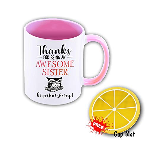 Awesome Sister 11 oz Mug Inside The Color Cup Color Changing Cup, The Best Gift Cup, Birthday Present.Multiple Colors to Choose from