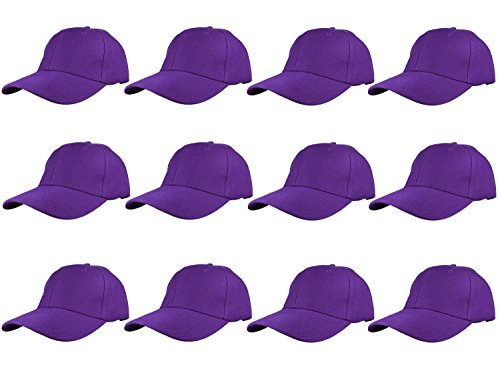 Gelante Plain Blank Baseball Caps Adjustable Back Strap Wholesale LOT 12 Pack- 001-Purple