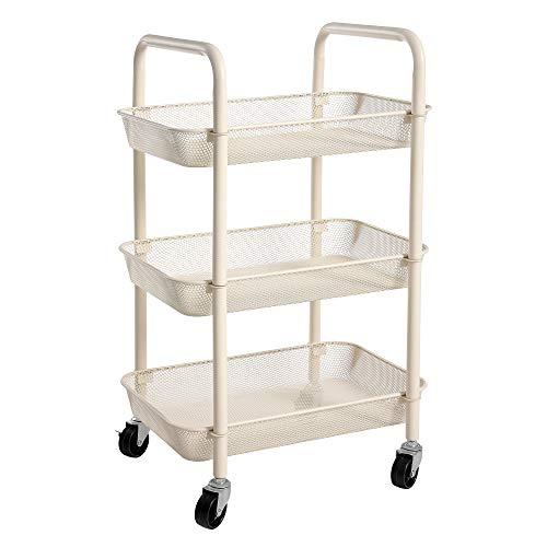 SONGMICS Rollwagen, Küchenwagen mit 3 Ebenen, aus Metall, Küchenregal, Servierwagen, mit 2 Bremsen, mit Griffen, einfache Montage, für Badezimmer, Küche und Büro, weiß BSC062W01