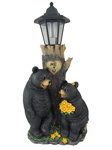 DWK - Bezauberndes Schwarzbär-Paar, flirtend am Baumstamm, solarbetriebene Laterne, romantischer Valentinstag, Haus und Garten, Dekoration, Beleuchtung, Akzentbeleuchtung, 48,3 cm