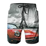 Photo de Men's Sports Beach Shorts Board Shorts,European Honeymoon Romantic City Paris Eiffel Tower Italian Car,Surfing Swimming Trunks Bathing Suits Swimwear,Medium par