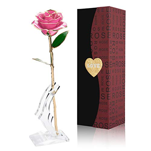 Gold Rose 24K Artificial Flowers Dipped Rose Gold Plated Rose with Stand for Lover, Mother, Girlfriend, Valentines Day Gold Dipped Rose, for Her ( Pink