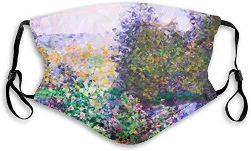 sQiao Monet Garden Montgeron Low Poly Unisex Face Covers - Funda lavable para el polvo para exteriores