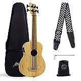 AKLOT Bass Ukulele Baritone, Bamboo 30 Inch Electric Bass Ukelele 4 String Solid Wood Ubass with Gig Bag Tuning Wrench Humidifier