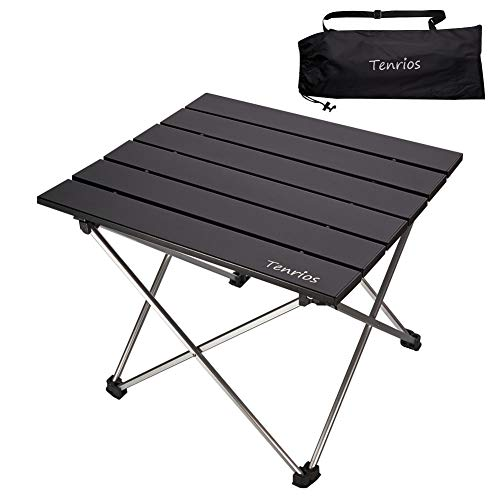 Portable Camping Table, Collapsible Beach Table Folding Side Table Aluminum Top with Carry Bag for Outdoor Cooking, Hiking, Travel, Picnic, RV Fold Black