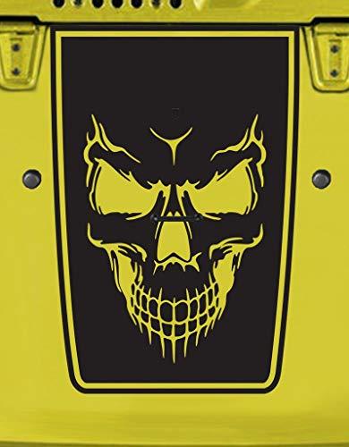 Tower Decals Hood Blackout Evil Skull Vinyl Graphic Decal Fits Jeep Wrangler TJ LJ YJ Matte Black 0150