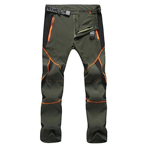 """SUKUTU Sportswear SU001, Pantaloni Traspiranti, Leggeri, Impermeabili, Si asciugano Velocemente, per Escursioni in Montagna (L(Vita 31""""-32""""), Armee-Grün)"""
