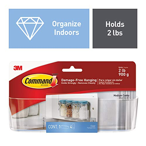 Command Medium Transparent Caddy for Home Kitchen Organization, Holds 900 gm, No Drilling, Holds Strong, No Wall Damage (1 Caddy, 4 Strips)