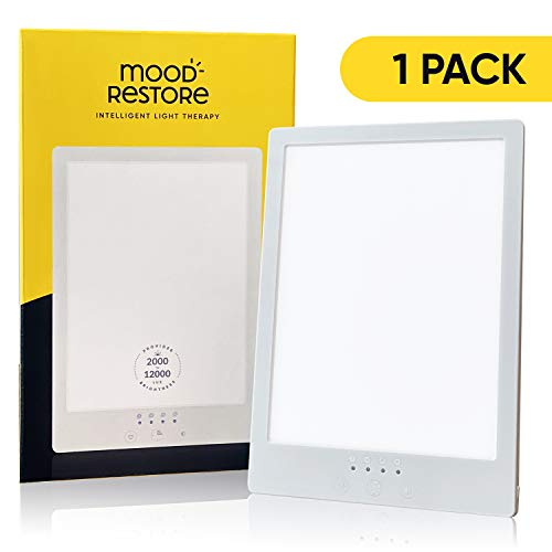 Best Buy! Mood Restore - 12,000 LUX Light Therapy Lamp - Happy Sun Light w/Timer, Simulates & Imitat...