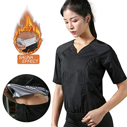 Women Sauna T Shirt V-Neck Weight Loss Gym Exercise Sweat Suits Workout Sweat Sauna Best Exercise Trainer for Weight Loss with Reflective Strip BlackM