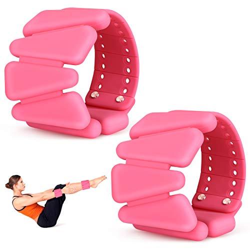 BestFire - Pesas de muñeca ajustables para mujer, 2 pulseras de silicona con pesas, correa para la muñeca, pesas de tobillo para yoga, natación, ejercicios, 1 libra, rosa