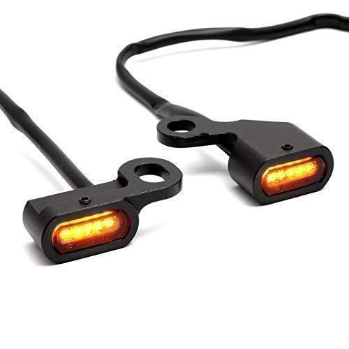 Motorrad Mini LED Blinker Schwarz 12V für Lenkerarmatur für Softail 96-14, für Dyna 96-17, für Sportster 96-13 TÜV ECE Geprüft Zugelassen