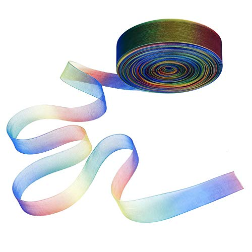 KKTICK Cintas de organza de 50 yardas, colores arco iris, cinta de satén para envolver regalos, manualidades, bodas, fiestas, cumpleaños, decoración