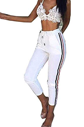 Laisla fashion Damen Leicht Sommerhose Lang High Classic Mit Waist Hose Seitenstreifen Fashion 2020 Frauen Kleidung (Color : Weiß, Size : 2XL)