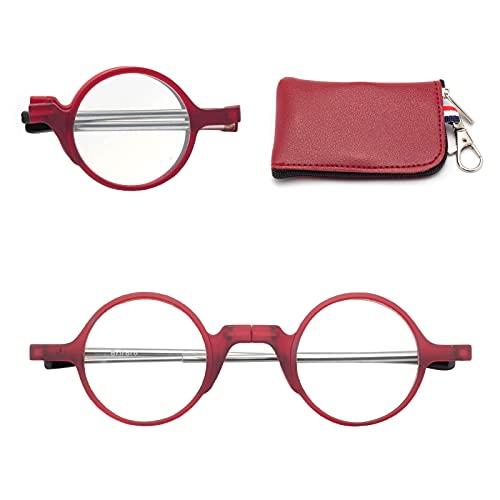 折りたたみ式老眼鏡 携帯用 コンタクト 持ち運び便利 ケース付き ブルーライトカット ユニセックス メンズ レディース おしゃれ 軽いリーディンググラス 度付き 丸メガネ レッド 度数+100 7025