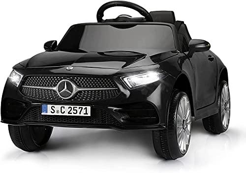 Mondial Toys Auto Macchina Elettrica per Bambini 12V MERCEDES-BENZ CLS 350 AMG con Sedile in Pelle Telecomando 2.4G Porte Apribili Nero