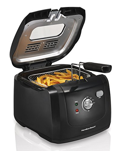 Hamilton Beach (35021) Deep Fryer, Cool Touch With Basket, 2 Liter Oil Capacity, Electric, Professional Grade (Renewed)