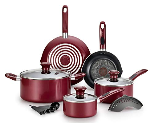 T-fal Excite ProGlide Nonstick Thermo-Spot Heat Indicator Dishwasher Oven Safe Cookware Set, 14-Piece, Red