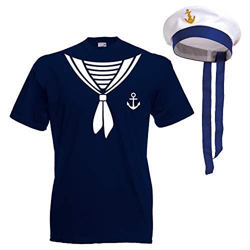 Shirt-Panda Herren T-Shirt · Matrosen Kostüm · wahlweise mit Mütze Karneval Gruppen Fasching Seemann Verkleidung Party Matrosenmütze Darts Unisex Hut · Dunkelblau (Druck Weiß) mit Mütze XL