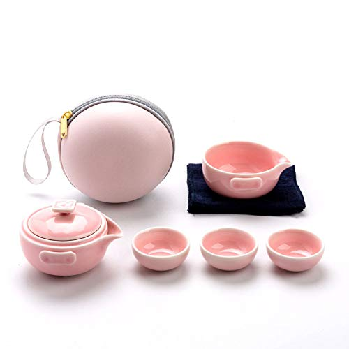 Travel Tea Pot Portable Kungfu Tea Set Handmade Chinese Japanese Vintage Tea Set Ceramic Teapot 3 Teacups with Portable Bag,Pink