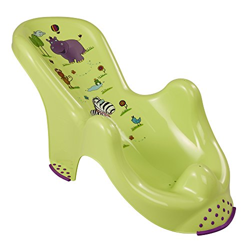 Seggiolino da Bagno ergonomico per Bambini keeeper Hippo con Funzione Antiscivolo, Dalla Nascita fino a 6 Mesi circa, Leon, Verde
