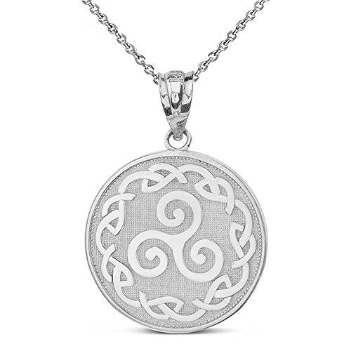 925 Sterling Silver Triskele Triskelion Triple Spiral Celtic Knot Disc Pendant Necklace, 16'