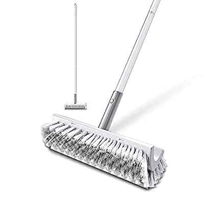 """BOOMJOY Floor Brush Long Handle, Double-sided 2 Brush Heads for Floor Clening -50"""" Stiff & Soft Bristles, Scraper & Floor Scrubber & Squeegee,Tub Tile Shower Brush for Cleaning Bathroom,Garage, Deck"""
