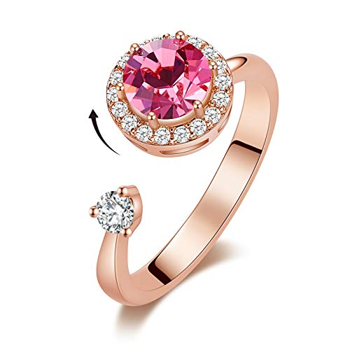 CDE October Birthstone Rings for Women Pink Round Crystals from Swarovski Girl Birthday Valentine's Day Gifts 18K Rose Gold Jewelry